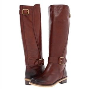 Lucky Brand Angel Leather Boots Cognac Brown